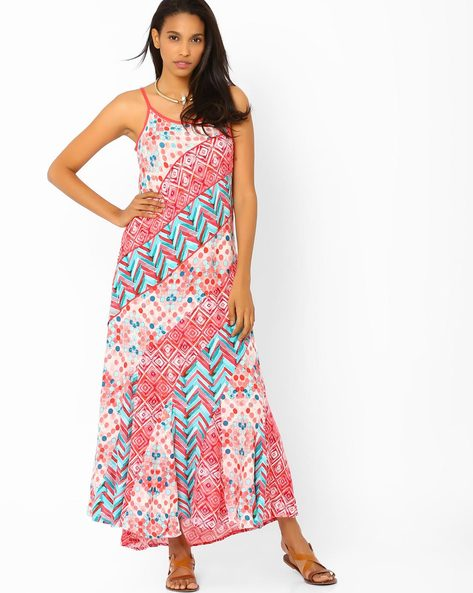 Panelled Maxi Dress By Biba ( Coral )