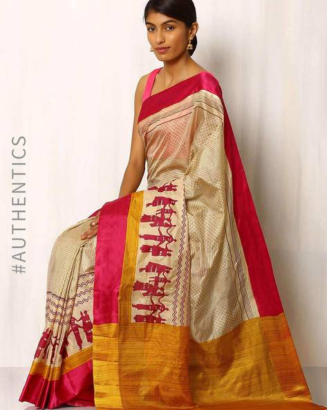 Printed Pure Silk Handloom Saree By Rudrakaashe-MSU ( Beige )