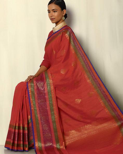 Antique Zari Banarasi Dupion South Silk Saree By Pretty Woman ( Red )