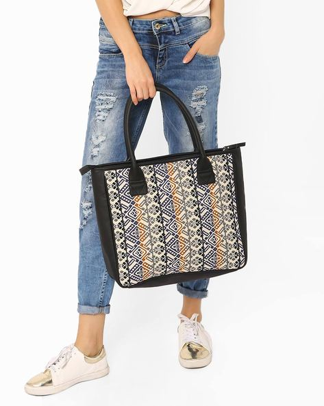 Printed Tote Bag By AJIO ( Multi )
