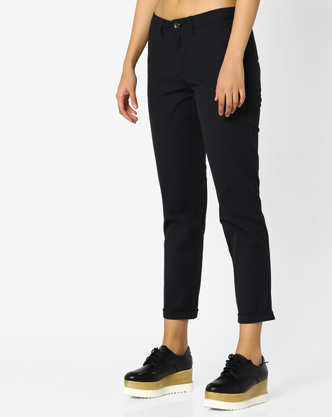Ankle-Length Flat-Front Pants By Project Eve WW Casual ( Black )