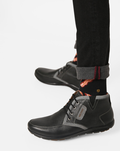 Panelled High-Top Casual Shoes By RED CHIEF ( Black ) - 460135427002