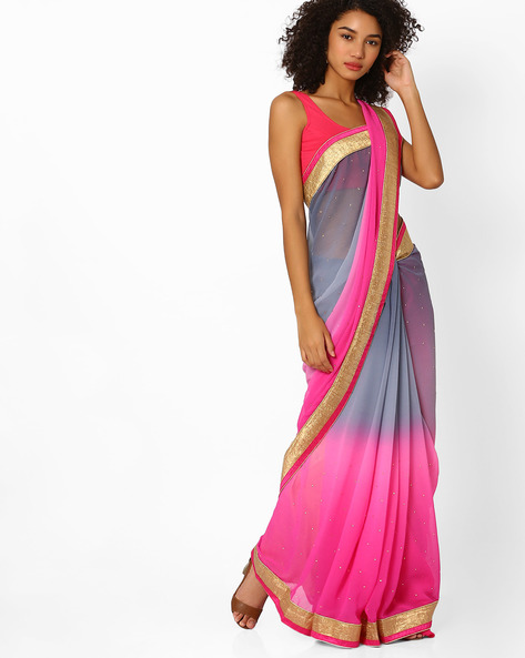 Ombre-Dyed Saree With Contrast Border By Viva N Diva ( Pink )