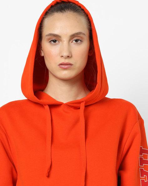 Hooded Sweatshirt With Drop-Shoulder Sleeves By TALLY WEiJL ( Orange )