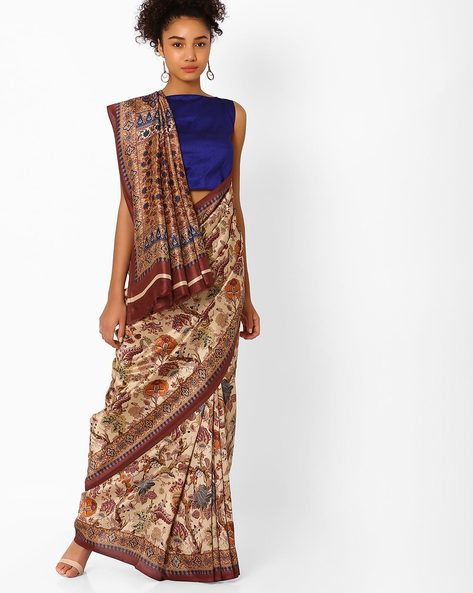Floral Print Saree With Contrast Border By Pihu ( Blue )