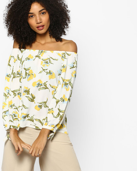 Floral Print Top With Off-Shoulder Sleeves By FIG ( White )