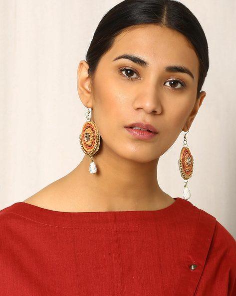 Beaded Dangler Earrings By Indie Picks ( Peach )
