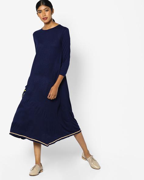 Knitted Dress With Asymmetric Hem By AJIO ( Navy )