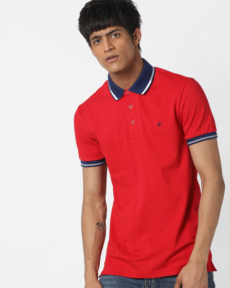 Polo T-shirt With Contrast Hems By UNITED COLORS OF BENETTON ( Red )