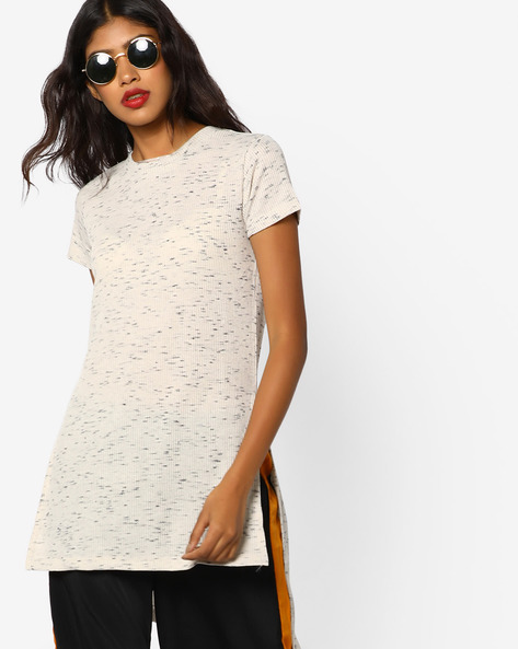 Ribbed Longline Top With High-Low Hem By Vero Moda ( Offwhite )