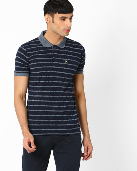 Regular Fit Striped Polo T-shirt By DUKE ( Navy )
