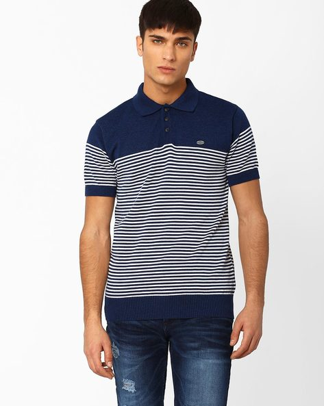 Striped Polo T-shirt By NETPLAY ( Darkblue )