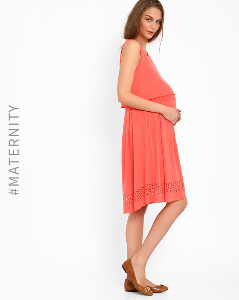 Laser-Cut Layered Dress By AJIO ( Coral )