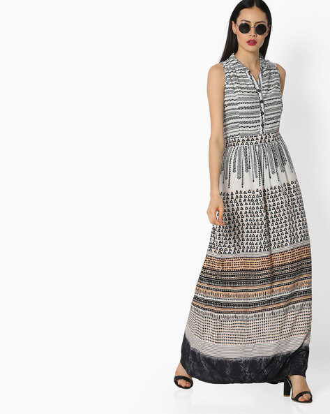 Printed Maxi Dress With Shirt Collar By Global Desi ( White )