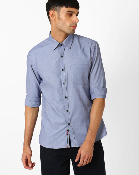 Regular Fit Casual Shirt By NETWORK ( Blue )