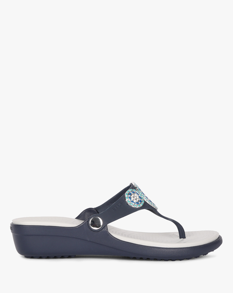 Wedge Heeled Thong Strap Sandals By CROCS ( Turquoise )