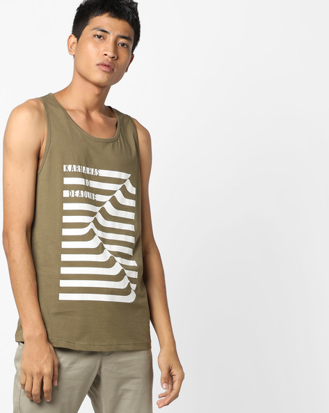 Printed Sleeveless T-shirt By AJIO ( Olive )