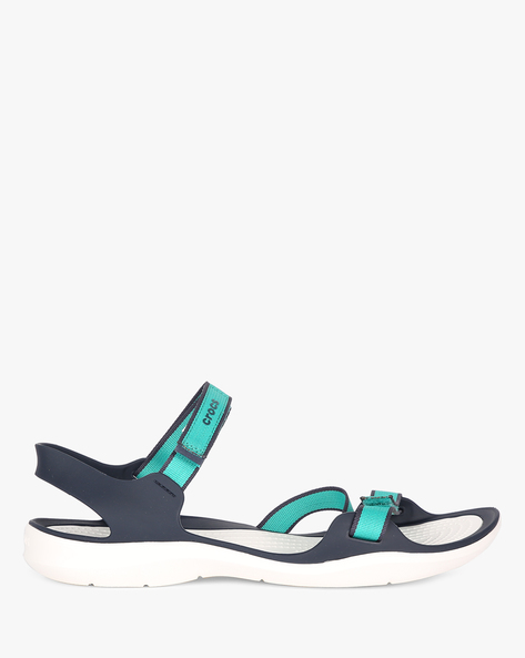 Swiftwater Webbing Sandals With Velcro Closure By CROCS ( Teal )