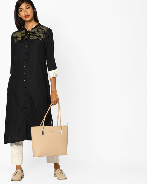 Collared Kurta With Contrast Cuffs By AJIO ( Black )