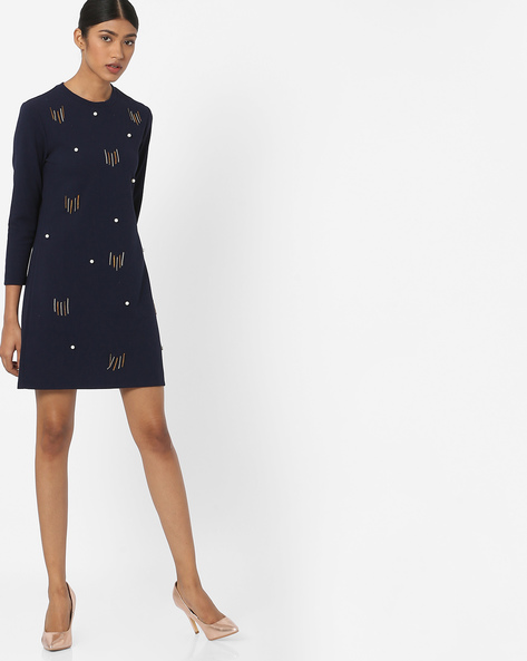 Embellished Shift Dress By RI-DRESS ( Blue )