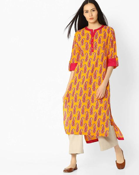 Paisley Print Long Kurta With Roll-Tab Sleeves By Jaipur Kurti ( Yellow )