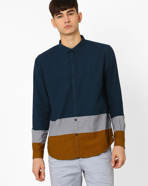 Slim Fit Shirt With Contrast Panels By BASICS ( Navy )