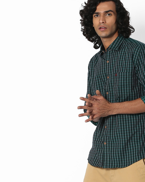 Checked Slim Fit Shirt With Patch Pocket By British Club ( Green )