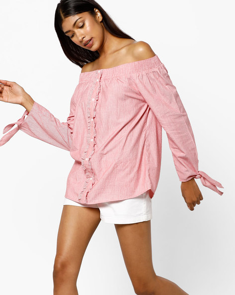 Off-Shoulder Top With Ruffles By AJIO ( Pink )