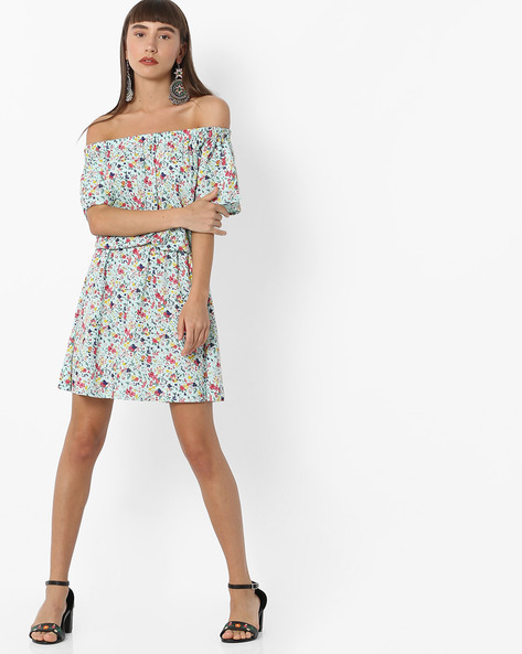 Floral Print Off-Shoulder Popover Dress By RIO ( Ltblue )