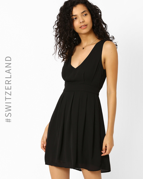 Fit & Flare Dress With Pleats By TALLY WEiJL ( Black )