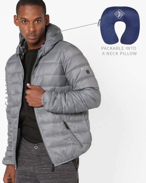 Convertible Ultralight Quilted Jacket With Hood By Point Zero ( Slate )