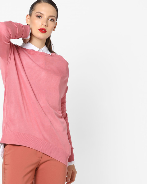 Knitted Top With Drop Shoulders By AJIO ( Lightpink )