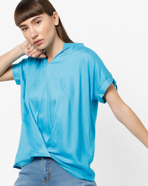 Blouson Top With Extended Tie-Up Sleeves By AJIO ( Turquoise )