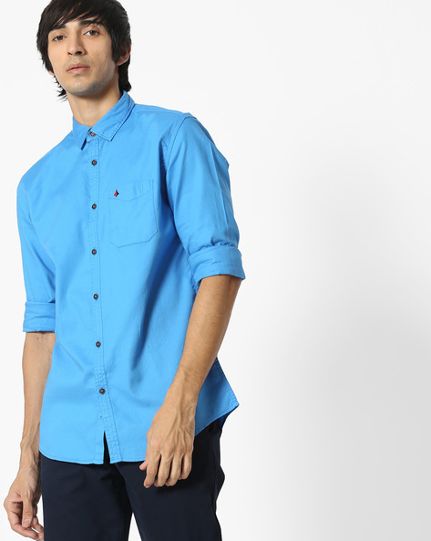 Slim Fit Shirt With Patch Pocket By British Club ( Blue )