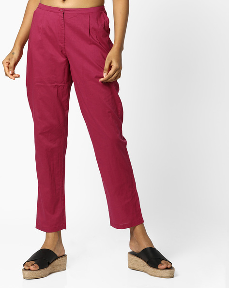 Pleated Pants With Insert Pockets By AJIO ( Maroon )