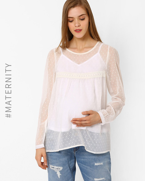 Maternity Top With Crochet Work By Oxolloxo ( White )