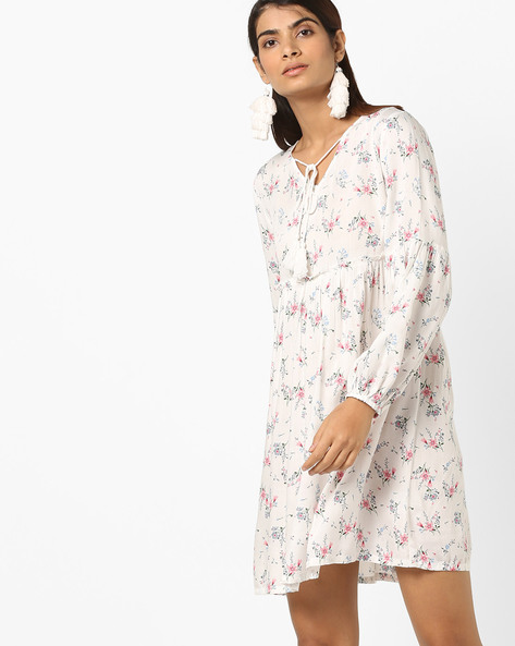 Floral Print Empire-Waist Dress With Bishop Sleeves By AJIO ( Offwhite )