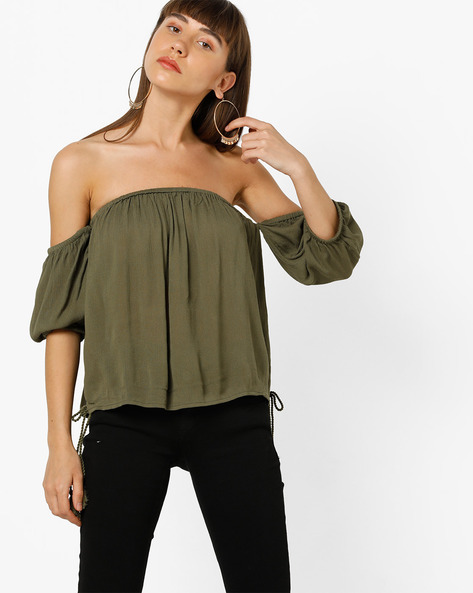 Off-Shoulder Top With Tassels By Only ( Ltgreen )