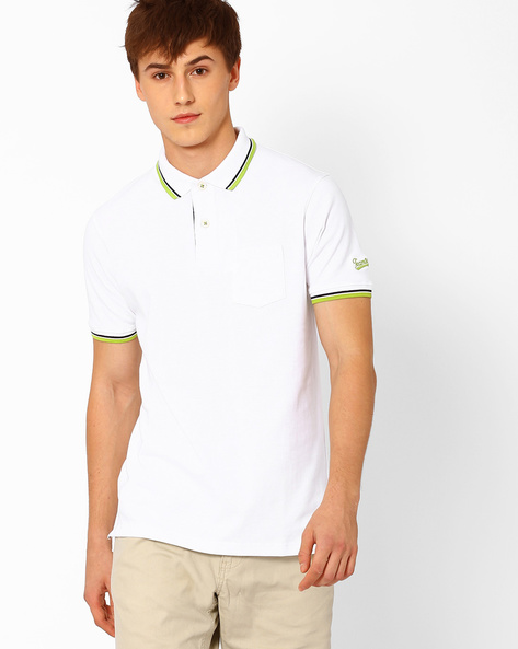 Polo T-shirt With Patch Pocket By Teamspirit ( Offwhite )