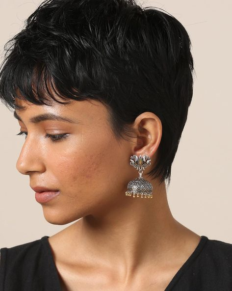 Lotus Shaped Dual-Toned Brass Earrings By Indie Picks ( Silvergold )