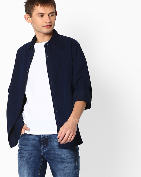 Regular Fit Shirt With Patch Pocket By INDIAN TERRAIN ( Indigo )