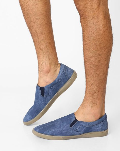 Faux-Leather Slip-Ons By Funk ( Blue )