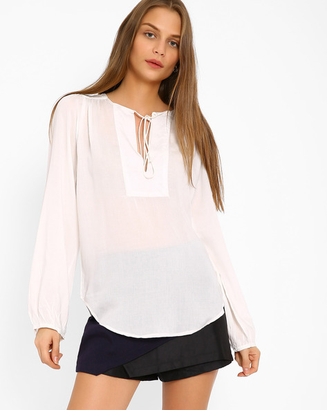 Blouson Top With Tie-Ups By Oxolloxo ( White )