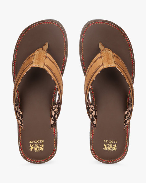 Genuine Leather Thong-Style Flip-Flops By RED TAPE ( Brown )