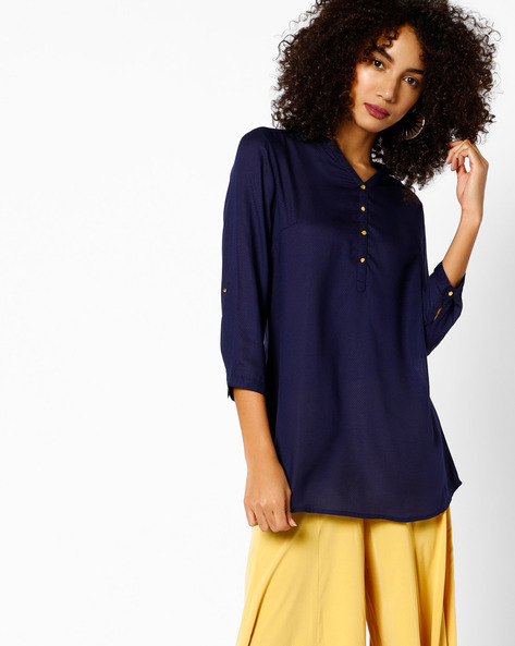 Short High-Low Kurti With Button Placket By Melange By Lifestyle ( Navy )