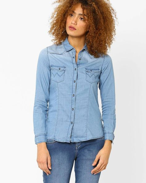 Denim Shirt With Patch Pockets By WRANGLER ( Blue )