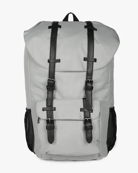 Laptop Backpack With Faux Leather Trims By AJIO ( Grey ) - 460138829001
