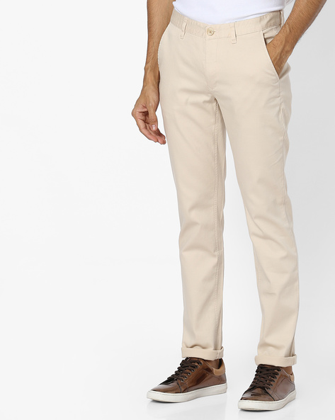 Slim Fit Flat-Front Trousers By JOHN PLAYERS ( Cream )