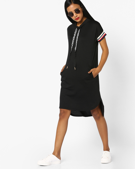 High-Low Shift Dress With Drawstring By Teamspirit ( Black )