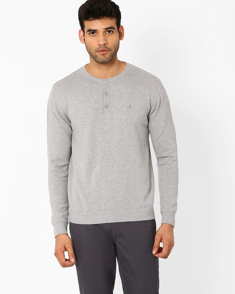 Slim Fit Henley Sweater By JOHN PLAYERS ( White )